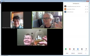 screenshot of a Zoom meeting showing three women in separate locations
